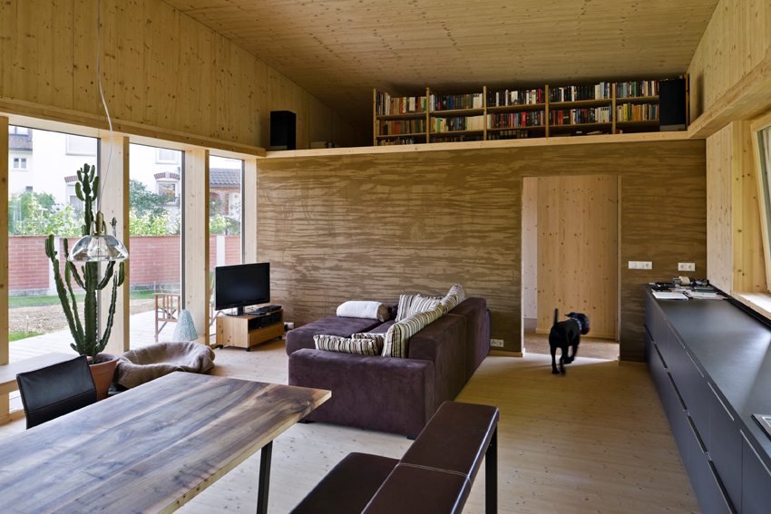 Einfamilienhaus# Götzis# eingeschossiger Holzbau# Lehmputz ...